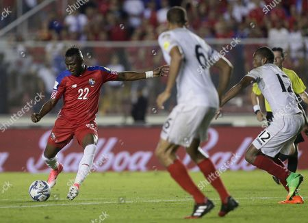Panama's Abdiel Arroyo controls the ball before scoring against Trinidad and Tobago during a 2018 Russia World Cup qualifying soccer match in Panama City