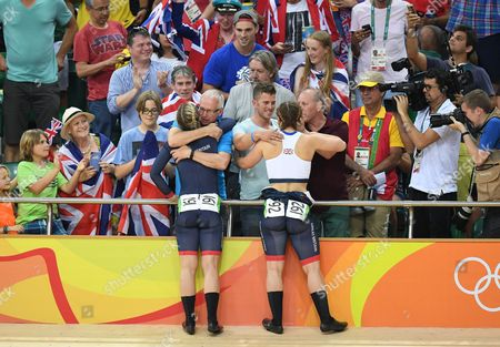 Rebecca James (l) And Katy Marchant Of Team Gb Celebrates Gold And Silver In The Women's Sprint At The Rio Olympics Brazil.