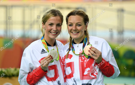 Rebecca James (l) With Her Silver Medal And Katy Marchant With Her Bronze Medal In The Women's Sprint At The Rio Olympics Brazil.
