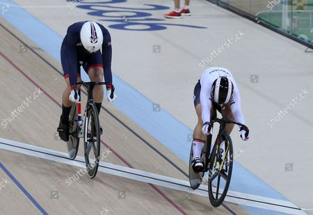 Stock Photo of Rebecca James Of Team Gb Is Beaten To Line In 2nd Race And Loses To Take Silver Medal In The Women's Sprint At The Rio Olympics Brazil.