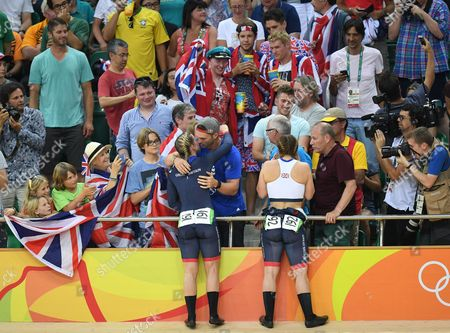 Rebecca James Hugs Rugby Player George North (l). Rebecca James (l) And Katy Marchant Of Team Gb Celebrates Gold And Silver In The Women's Sprint At The Rio Olympics Brazil.