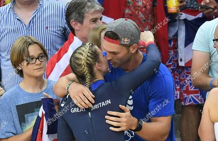 Editorial image of Rio 2016: Rebecca James Hugs Rugby Player George North. Rebecca James (l) And Katy Marchant Of Team Gb Celebrates Gold And Silver In The Women's Sprint At The Rio Olympics Brazil.