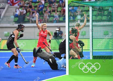 Georgie Twigg Celebrates As Alex Danson Scores For Team Gb. Women's Hockey: Gb V New Zealand (3-0) Semi Final.