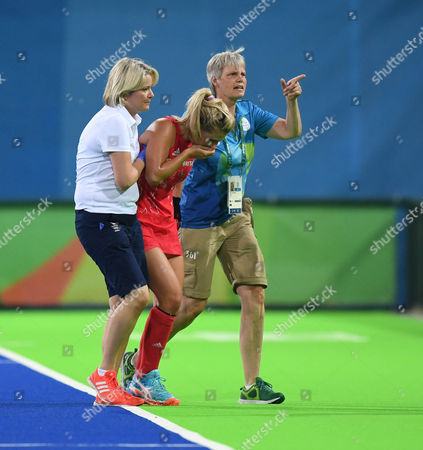 Editorial photo of Hockey Gb V New Zealand Semi Final - Team Gb Rio 2016 Olympics Rio Brazil. Pic Shows:-georgie Twigg Goes Off Injured.