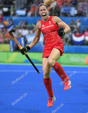 Crista Cullen Of Team Gb Scores And Celebrates 2-2 In The Hockey Final Gb V Netherlands At The Rio Olympics Brazil.