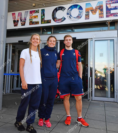 Laura Trott. Olympic Cyclists Laura Trott(l) Philip Hindes(r) And Katy Marchant(centre) Arrive Back At Manchester Airport Greater Manchester From Rio De Janeiro . - 19/8/16.