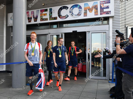 Olympic Gold Medal Track Cyclists (l To R)ed Clancy Joanna Rowsell-shand Jason Kenny And Steve Burke Arrive Back At Manchester Airport Greater Manchester From Rio De Janeiro . - 18/8/16.