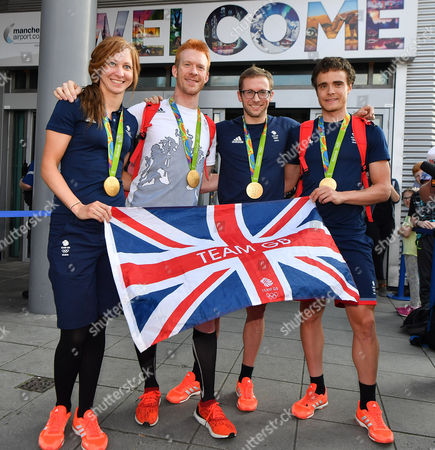 Olympic Gold Medal Track Cyclists (l To R) Joanna Rowsell-shand Ed Clancy Jason Kenny And Steve Burke Arrive Back At Manchester Airport Greater Manchester From Rio De Janeiro . - 18/8/16.