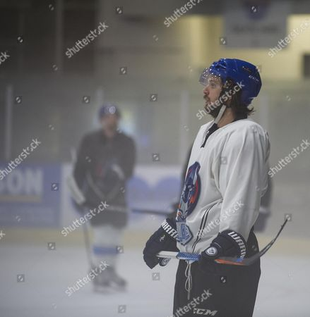 Editorial photo of Ice Hockey Player Liam Stewart Son Of Rod Stewart And Rachel Hunter During A Training Session For Coventry Blaze.