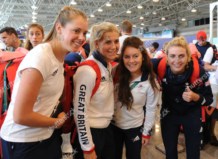 Stock Photo of Female Hockey Team. Georgie Twigg Second Left. Team GB Athletes Leave Rio To Head Back To London Heathrow After A Successful 2016 Olympic Games Rio De Janeiro Brazil. Rio2016. 22.08.16.