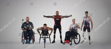 Editorial image of 2016 Summer Paralympics Rio Brazil Preview. Picture Graham Chadwick. Some Of The Elite Military Athletes Supported By Help For Heroes. L-r Mikey Hall (archery) Joe Townsend (para-triathlon) Micky Yule (powerlifting) Jo Butterfield (atletics/field) Da