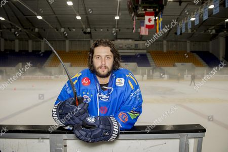 Stock Image of Ice Hockey Player Liam Stewart Son Of Rod Stewart And Rachel Hunter During A Training Session For Coventry Blaze.