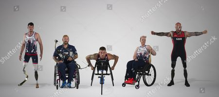 2016 Summer Paralympics Rio Brazil Preview. Some Of The Elite Military Athletes Supported By Help For Heroes. L-r Dave Henson (athletics/track) Mikey Hall (archery) Joe Townsend (para-triathlon) Jo Butterfield (atletics/field) Micky Yule (powerlifting).