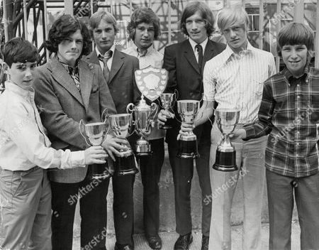 Promising Boys Who Attended The South London Soccer Coaching Festival With The Trophies They Were Presented With. L-r: David Campbell Eddy Frankland Robert Crampton Unknown Geoff Denney Teddy Maybank And Paul Emerson. Box 720 705121620 A.jpg.
