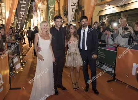 Spanish actors (L-R) Cayetana Guillen Cuervo, Nacho Fresneda, Macarena Garcia and Hugo Silva pose as they arrive to the Vitoria Television Festival in Vitoria-Gasteiz, Basque Country, northern Spain, 05 September 2017 (issued 06 September 2017).