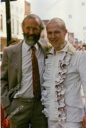 Mountaineer Chris Bonington (beard) With His Son Daniel Bonington Who Was Marrying Judith Hammerston At Kensington & Chelsea Register Office Today. Box 722 207121621 A.jpg.