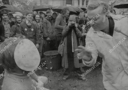 Reginald Bosanquet Newsreader Gives One Of His Voters A Pie In The Face At Glasgow University Where He Is Standing For Rector. Box 722 907121614 A.jpg.