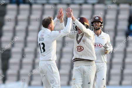 Wicket - Gareth Batty of Surrey celebrates taking the wicket of George Bailey of Hampshire during the Specsavers County Champ Div 1 match between Hampshire County Cricket Club and Surrey County Cricket Club at the Ageas Bowl, Southampton