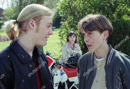 Ep 2093 Thursday 27th June 1996 Marcus wants Scott to steal some more booze or cash from the post office. He tells him that he cannot hang around in his gang if he doesn't. Scott refuses, so Marcus threatens him - With Marcus Ellis, as played by Richard Burke ; Scott Windsor, as played by Toby Cockerell.