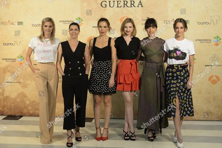 (L to R) Spanish actresses and cast members Amaia Salamanca, Alicia Borrachero, Alicia Rubio, Anna Moliner, Veronica Sanchez and Silvia Alonso pose for photograpgers during the presentation of the new tv series 'Tiempos de Guerra'' (lit: 'In Times of War') in the frame of the Vitoria Television Festival FesTVal, in Vitoria, northern Spain, 06 September 2017.