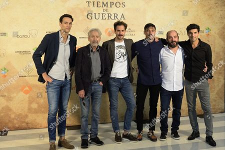 Stock Photo of (L to R) Spanish actors and cast members Cristobal Suaez, Jose Sacristan, Alex Gadea, Alex Garcia, Federico Perez and Daniel Lundh pose for photograpgers during the presentation of the new tv series 'Tiempos de Guerra'' (lit: 'In Times of War') in the frame of the Vitoria Television Festival FesTVal, in Vitoria, northern Spain, 06 September 2017.