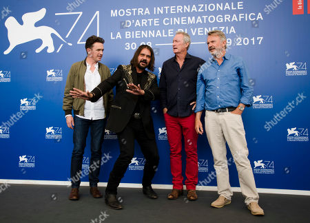 """Warwick Thornton, Sam Neill, Bryan Brown, Matt Day. From left, actor Matt Day, director Warwick Thornton, actors Bryan Brown and Sam Neill pose for photographers during the photo call of the film """"Sweet Country"""" at the 74th Venice Film Festival in Venice, Italy"""