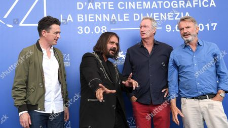 (L-R) Australian actor Matt Day, Australian film director Warwick Thornton, Australian actor Bryan Brown and New Zealand actor Sam Neill pose during a photocall for 'Sweet Country' during the 74th Venice Film Festival in Venice, Italy, 06 September 2017. The movie is presented in the official competition 'Venezia 74' at the festival running from 30 August to 09 September 2017.