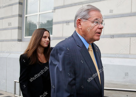 Robert Menendez, Alicia Menendez. Senator Bob Menendez arrives with his daughter Alicia Menendez to court in Newark, N.J., . The corruption trial for the New Jersey Democrat and a wealthy Florida eye doctor begins on Wednesday in Newark. The trial will examine whether Menendez was illegally lobbying for Salomon Melgen, who gave him political contributions and gifts including luxury vacations