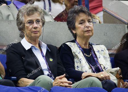Former British Ladies Champion Virginia Wade watches Roger Federer in his quarter final match against Juan Martin Del Potro