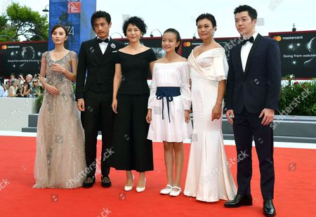Chinese actors Peng Jing, Geng Le, director Vivian Qu, Zhou Meijung, Shi Ke and Wang Yuexin arrive for the premiere of 'Jia Nian Hua' (Angels wear white)' at the 74th Venice Film Festival, in Venice, Italy, 07 September 2017. The festival runs from 30 August to 09 September.