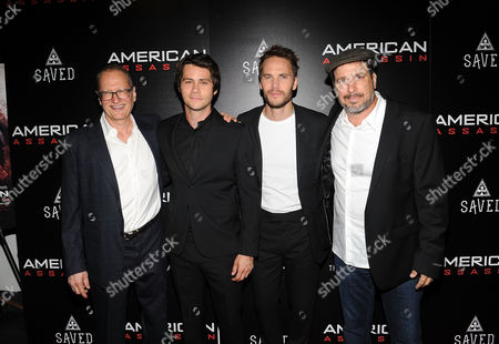 "Stephen Schiff, Dylan O'Brien, Taylor Kitsch, Michael Cuesta. From Left, American screenwriter Stephen Schiff, Dylan O'Brien, Taylor Kitsch and Director Michael Cuesta attend the special screening of ""American Assassin"" at the iPic Theater, in New York"