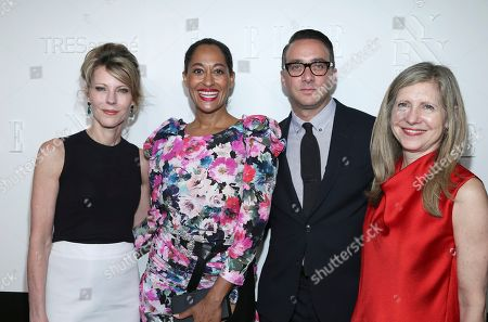 Robbie Myers, Tracee Ellis Ross, Adam Stotsky, Frances Berwick. Editor-in -chief ELLE Magazine Robbie Myers left, actress Tracee Ellis Ross, president of E! Entertainment Adam Stotsky and president of Lifestyle Networks NBC Frances Berwick attend the ELLE, E! and IMG New York Fashion Week kick-off party at 5 Doyers St., in New York