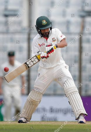 Bangladesh's Nasir Hossain plays a shot during the fourth day of their second test cricket match against Australia in Chittagong, Bangladesh