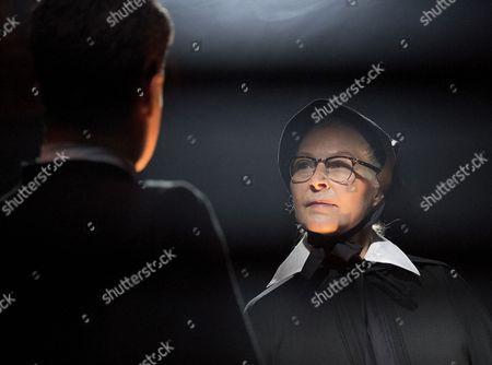 Stella Gonet as Sister Aloysius, Jonathan Chambers as Father Brendan Flynn