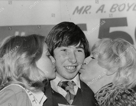Anthony Boyle 18-year-old Supermarket Worker From Dundee Who Has Just Won Half A Million Pounds On Littlewoods Pools. He Is Pictured With Miss United Kingdom Carol Grant (left) And Actress Yootha Joyce (right). Box 724 712121633 A.jpg.