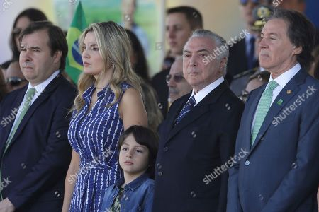 Michel Temer, Marcela Temer, Rodrigo Maia, Eunicio Oliveira. Brazil's President Michel Temer, second from right, and his wife Marcela Temer, second from left, stand during an Independence Day military parade in Brasilia, Brazil, . At right is the president of the Senate, Eunicio Oliveira and at left is the president of Congress, Rodrigo Maia