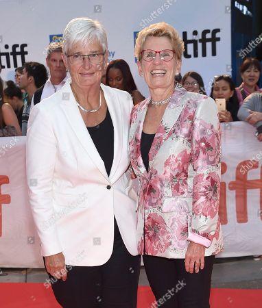 "Kathleen Wynne, Jane Rounthwaite. Ontario Premier Kathleen Wynne, right, and Jane Rounthwaite attend the opening night gala for ""Borg/McEnroe"" on day 1 of the Toronto International Film Festival at Roy Thomson Hall, in Toronto"
