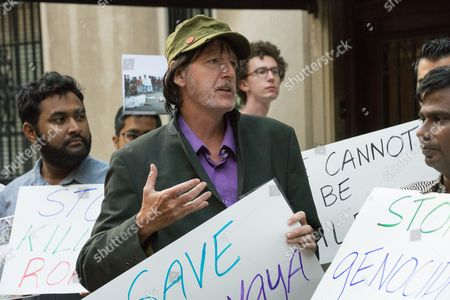 Adam Carroll, Director of the Burma Task Force, speaks. Concerned New Yorkers protest treatment of Rohingya in Myanmar in front of the Myanmar UN permanent mission.