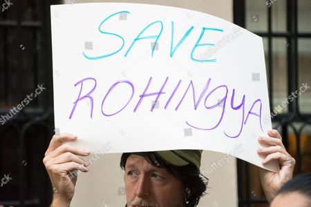 Adam Carroll, Director of the Burma Task Force. Concerned New Yorkers protest treatment of Rohingya in Myanmar in front of the Myanmar UN permanent mission.