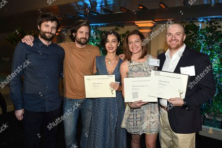 Ross Duffer, Matt Duffer, Carmen Cuba, Tara Feldstein Bennett, Chase Paris. Ross Duffer, from left, Matt Duffer, Carmen Cuba, Tara Feldstein Bennett, and Chase Paris, Emmy nominees for Outstanding Casting for a Drama Series for 'Stranger Things' at The Television Academy's Casting Directors Nominee Reception at The Montage Beverly Hills, in Beverly Hills, Calif