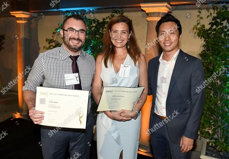 Cody Beke, Teresa Razzauti, Kelvin Yu. Cody Beke, from left, Teresa Razzauti, Emmy nominees for Outstanding Casting for a Comedy Series for 'Master of None', and Kelvin Yu at The Television Academy's Casting Directors Nominee Reception at The Montage Beverly Hills, in Beverly Hills, Calif