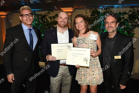 Howard Meltzer, Chase Paris, Tara Feldstein Bennett, Peter Golden. Television Academy's Howard Meltzer, from left, Chase Paris, Tara Feldstein Bennett, Emmy nominees for Outstanding Casting for a Comedy Series for 'Atlanta', and Television Academy's Peter Golden at The Television Academy's Casting Directors Nominee Reception at The Montage Beverly Hills, in Beverly Hills, Calif