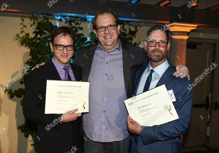Robert J. Ulrich, Dominic Burgess, Eric Dawson. Robert J. Ulrich, from left, Dominic Burgess, and Eric Dawson, Emmy nominees for Outstanding Casting for a Limited Series, Movie or Special for 'FEUD; Bette and Joan' at The Television Academy's Casting Directors Nominee Reception at The Montage Beverly Hills, in Beverly Hills, Calif