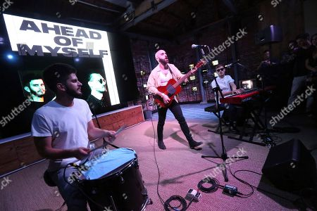 Adam Levin, Sam Harris, Casey Harris. X Ambassadors perform at The Microsoft Lounge, in Venice, Calif