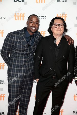 """Jackie Long, Joseph Kahn. Jackie Long, left, and Joseph Kahn attend the premiere of """"Bodied"""" on day 1 of the Toronto International Film Festival at the Ryerson Theatre, in Toronto"""