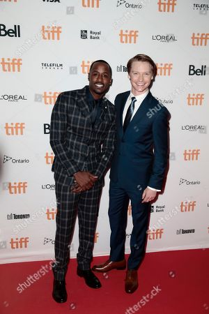 """Jackie Long, Calum Worthy. Jackie Long, left, and Calum Worthy attend the premiere of """"Bodied"""" on day 1 of the Toronto International Film Festival at the Ryerson Theatre, in Toronto"""