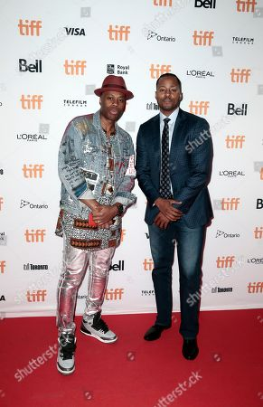 "Kardinal Offishall, Morris Peterson. Kardinal Offishall, left, and Morris Peterson attend the premiere of ""Bodied"" on day 1 of the Toronto International Film Festival at Ryerson Theatre, in Toronto"