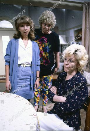 Helen Worth (as Gail Platt), Elizabeth Dawn (as Vera Duclworth) and Lynne Perrie (as Ivy Brennan)
