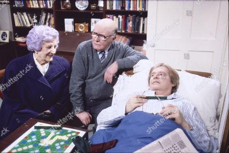 Stock Image of Jill Summers (as Phyllis Pearce), Bill Waddington (as Percy Sugden) and William Roache (as Ken Barlow)