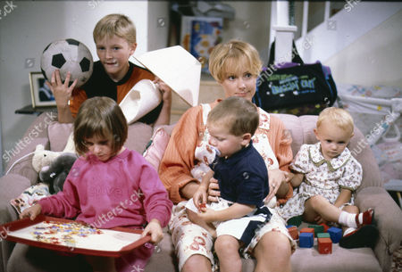 Stock Image of Warren Jackson (as Nicky Tilsley), Leah King (as Sarah Platt), Sally Dynevor (as Sally Webster), Thomas Ormson (as David Platt) and Emma Collinge (as Sophie Webster)